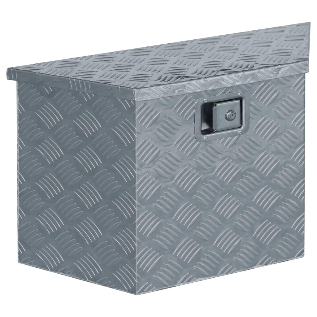vidaXL Cutie din aluminiu, 70 x 24 x 42 cm, formă trapez, argintiu poza vidaxl.ro
