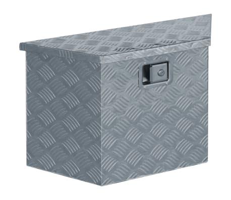 vidaXL Κουτί Αποθήκευσης Τραπεζοειδές Ασημί 70x24x42 εκ. Αλουμινίου