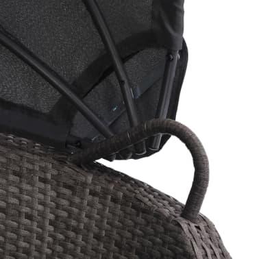 vidaXL Lit de jardin avec auvent Gris 200x120 cm Résine tressée[5/6]