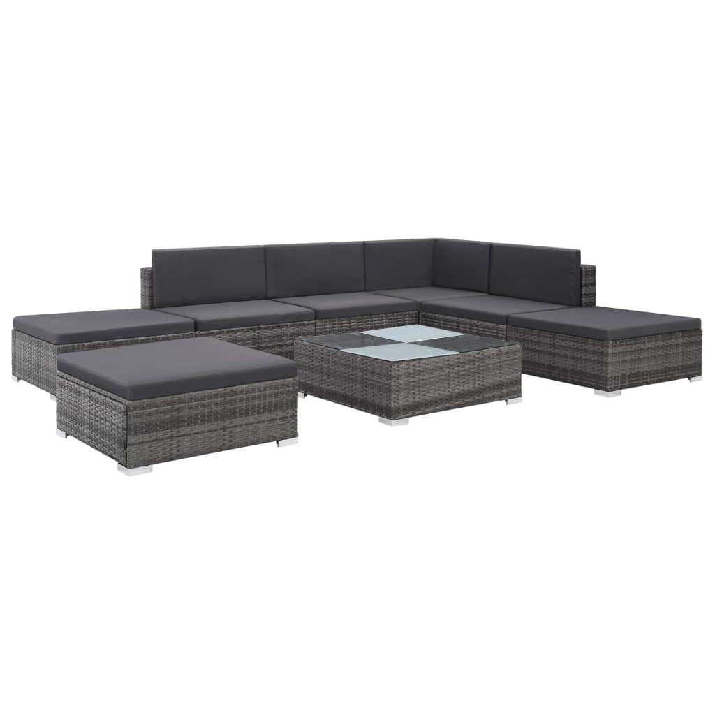 vidaXL Set mobilier de grădină cu perne, 8 piese, gri, poliratan imagine vidaxl.ro