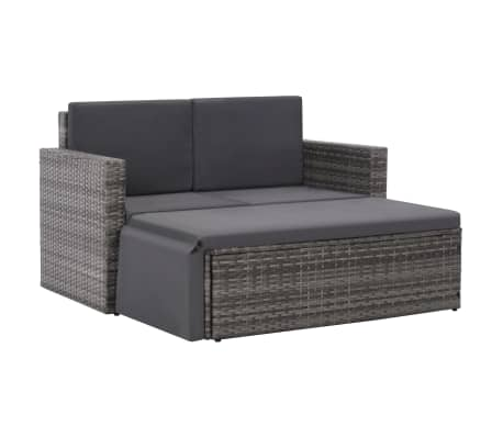 vidaXL 2 Piece Garden Lounge Set with Cushions Poly Rattan Gray