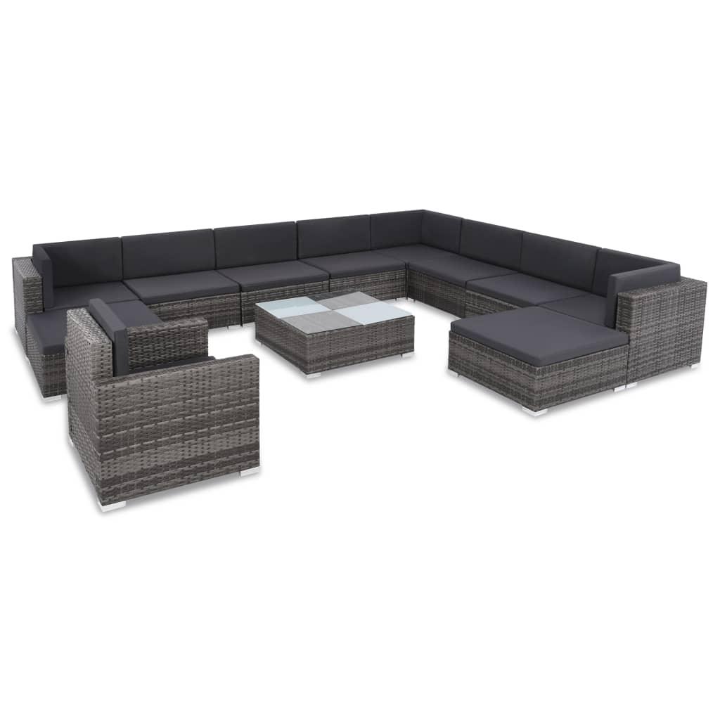 vidaXL 12 pcs conjunto lounge de jardim c/ almofadões vime PE cinzento