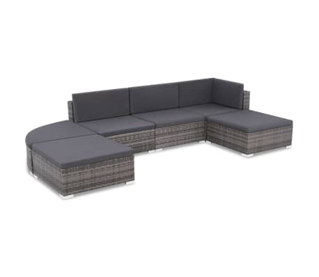 vidaXL 6 pcs conjunto lounge de jardim c/ almofadões vime PE cinzento