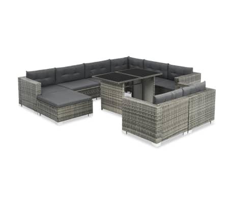 vidaXL 10-dielna záhradná sedacia súprava s vankúšmi sivá polyratanová