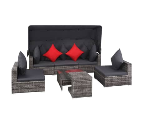vidaXL 7 Piece Garden Lounge Set with Cushions Poly Rattan Gray