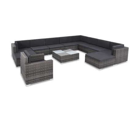 vidaXL 12 Piece Garden Lounge Set with Cushions Poly Rattan Gray[1/13]