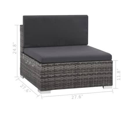 vidaXL 12 Piece Garden Lounge Set with Cushions Poly Rattan Gray[12/13]