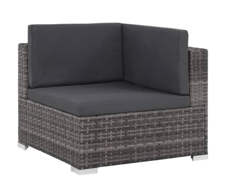 vidaXL 12 Piece Garden Lounge Set with Cushions Poly Rattan Gray[3/13]