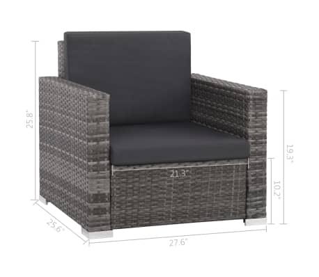 vidaXL 12 Piece Garden Lounge Set with Cushions Poly Rattan Gray[9/13]