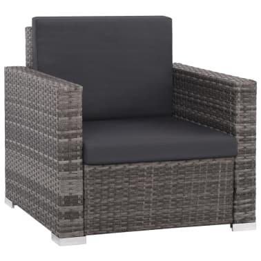 vidaXL 12 Piece Garden Lounge Set with Cushions Poly Rattan Gray[2/13]