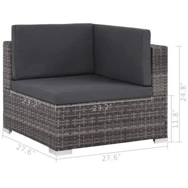vidaXL 12 Piece Garden Lounge Set with Cushions Poly Rattan Gray[10/13]
