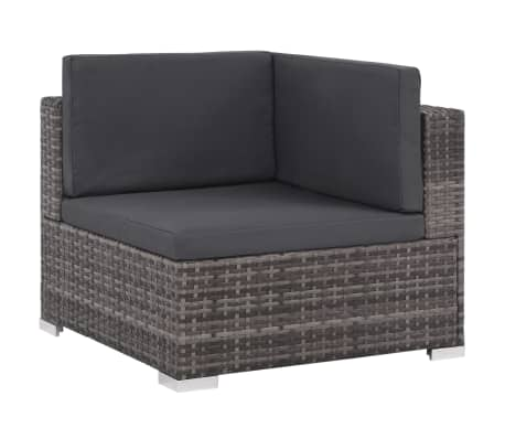 vidaXL 6 Piece Garden Lounge Set with Cushions Poly Rattan Gray[2/9]