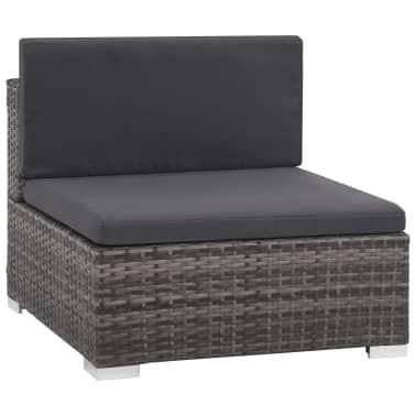 vidaXL 6 Piece Garden Lounge Set with Cushions Poly Rattan Gray[3/9]