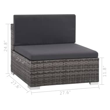 vidaXL 6 Piece Garden Lounge Set with Cushions Poly Rattan Gray[8/9]