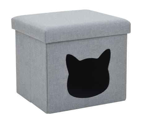 vidaXL Skládací pelíšek pro kočky z umělého lnu 37 x 33 x 33 cm šedý