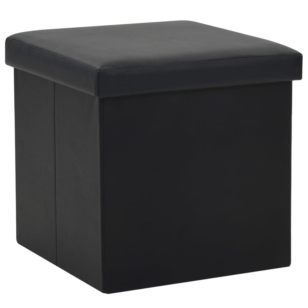vidaXL Taburet de depozitare pliabil, negru, piele ecologică vidaxl.ro