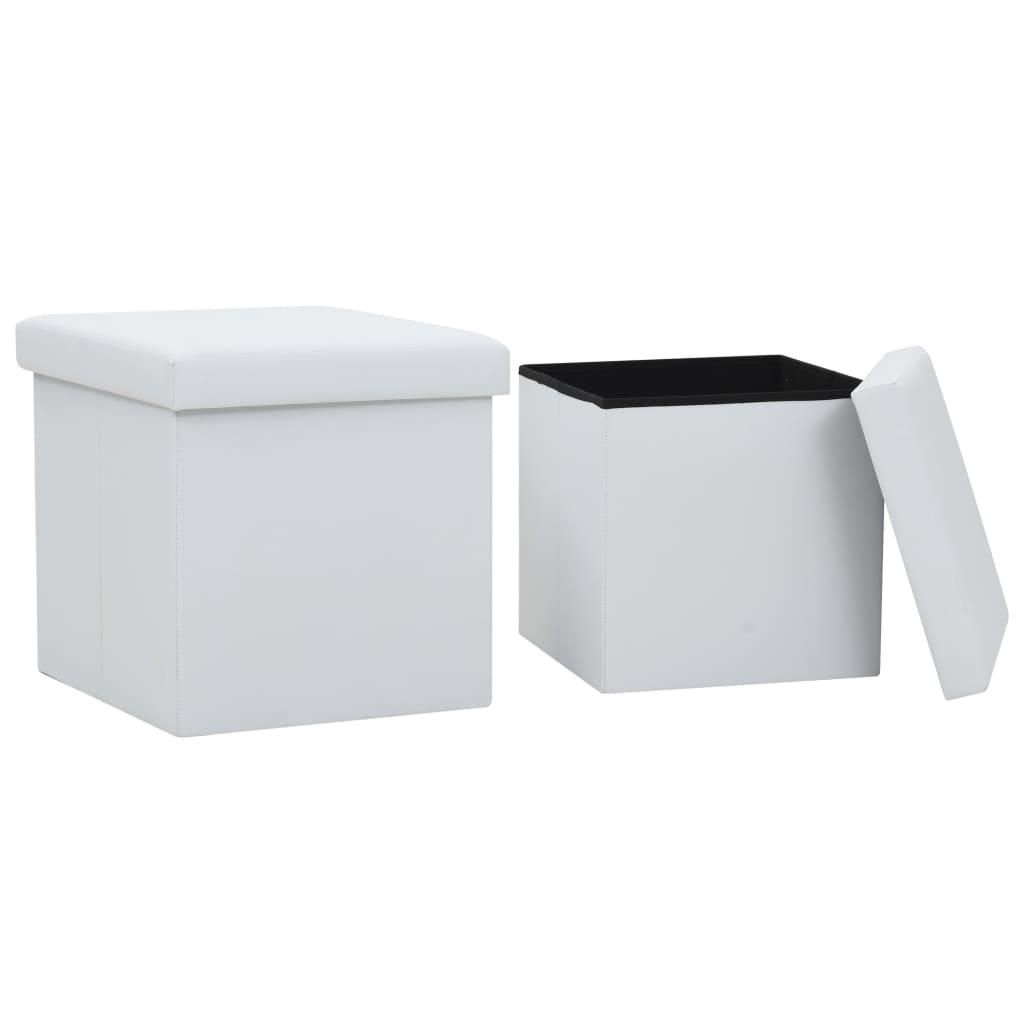 vidaXL Taburete de depozitare pliabile, 2 buc., alb, piele ecologică poza 2021 vidaXL