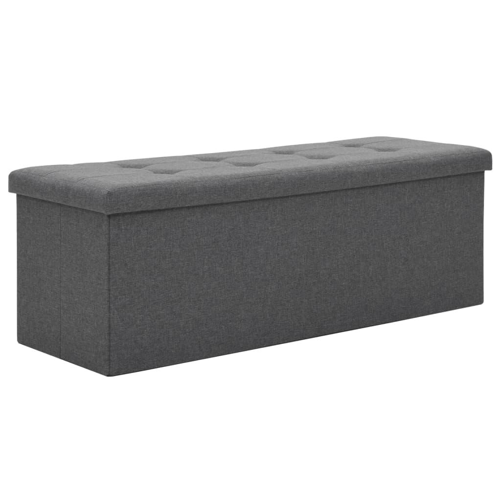 Skládací úložná lavice umělý len 110 x 38 x 38 cm tmavě šedá