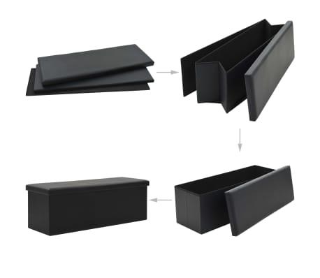 vidaXL Sklopiva klupa za pohranu od umjetne kože 110 x 38 x 38 cm crna[2/6]