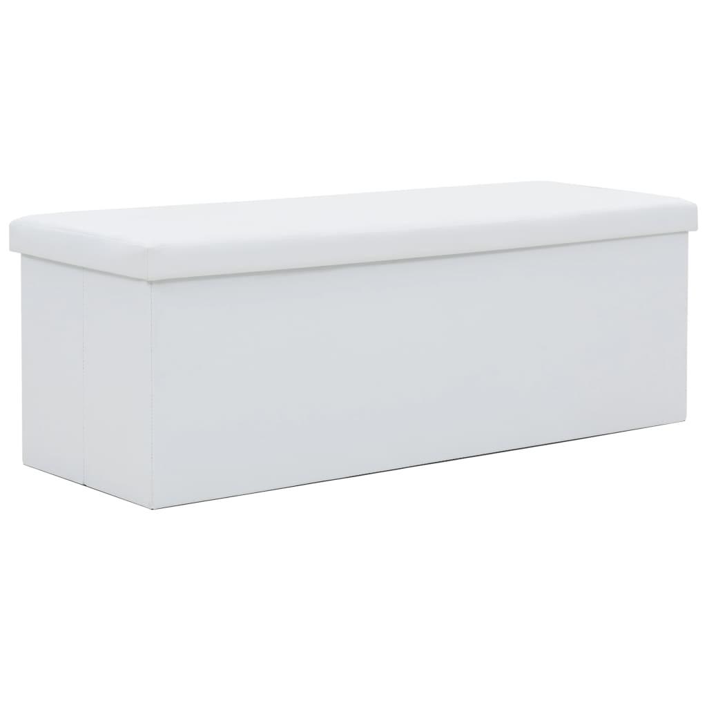 vidaXL Skládací úložná lavice z umělé kůže 110 x 38 x 38 cm bílá
