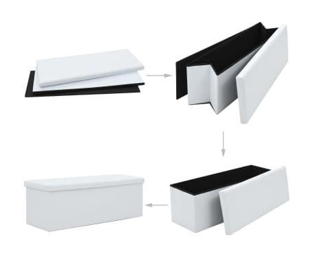 vidaXL Sklopiva klupa za pohranu od umjetne kože 110 x 38 x 38 cm bijela[2/6]