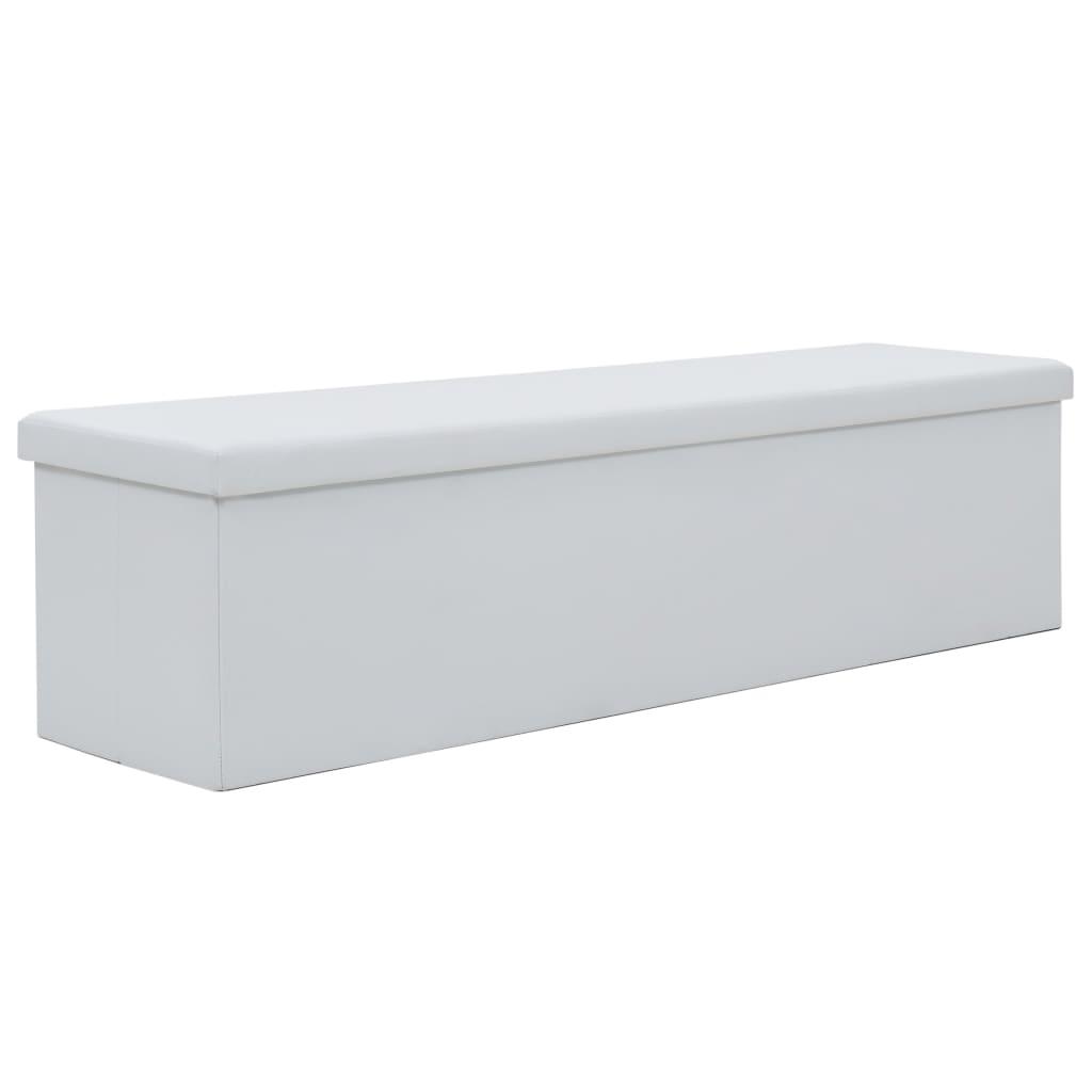 vidaXL Skládací úložná lavice z umělé kůže 150 x 38 x 38 cm bílá