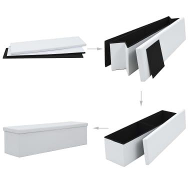 vidaXL Sklopiva klupa za pohranu od umjetne kože 150x38x38 cm bijela[2/6]