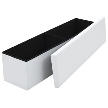 vidaXL Sklopiva klupa za pohranu od umjetne kože 150x38x38 cm bijela[3/6]
