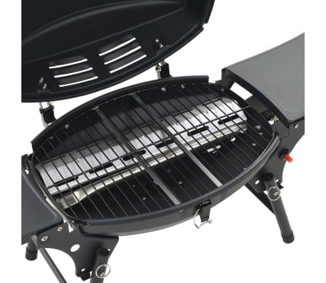 vidaXL Barbecue e Griglia a Gas Portatile con Fornello Nero[7/12]