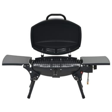 vidaXL Barbecue e Griglia a Gas Portatile con Fornello Nero[2/12]