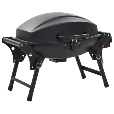 vidaXL Barbecue e Griglia a Gas Portatile con Fornello Nero[3/12]