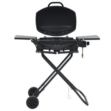 vidaXL Barbecue e Griglia a Gas Portatile con Fornello Nero[1/7]