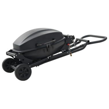 vidaXL Barbecue e Griglia a Gas Portatile con Fornello Nero[4/7]