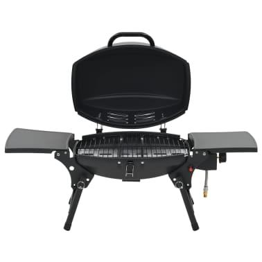 vidaXL Barbecue e Griglia a Gas Portatile con Fornello Nero[5/7]