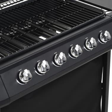 vidaXL Barbecue Griglia a Gas con 6 Fornelli Acciaio Nero[4/6]