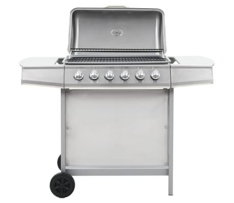 vidaXL Barbecue au gaz avec 6 zones de cuisson Inox Argenté