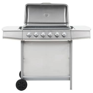 vidaXL Barbecue Griglia a Gas 6 Fornelli Acciaio Inossidabile Argento[1/10]