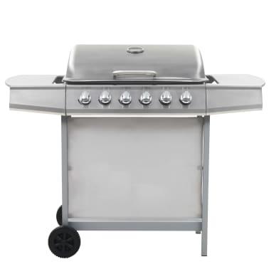 vidaXL Barbecue Griglia a Gas 6 Fornelli Acciaio Inossidabile Argento[2/10]