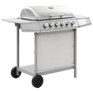 vidaXL Barbecue Griglia a Gas 6 Fornelli Acciaio Inossidabile Argento[3/10]