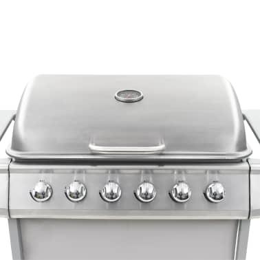 vidaXL Barbecue Griglia a Gas 6 Fornelli Acciaio Inossidabile Argento[6/10]