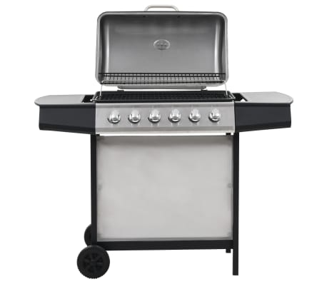 vidaXL Gas BBQ Grill with 6 Cooking Zones Stainless Steel Silver