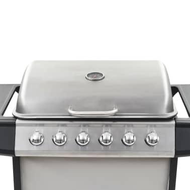 vidaXL Barbecue Griglia a Gas 6 Fornelli Acciaio Inossidabile Argento[7/10]