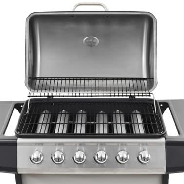 vidaXL Barbecue Griglia a Gas 6 Fornelli Acciaio Inossidabile Argento[9/10]