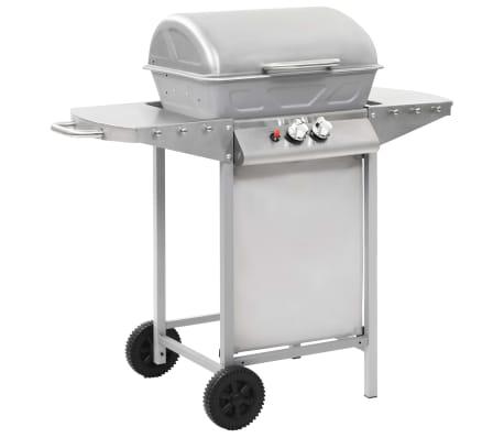 vidaXL Gasbarbecue en grill met 2 kookzones roestvrij staal zilver