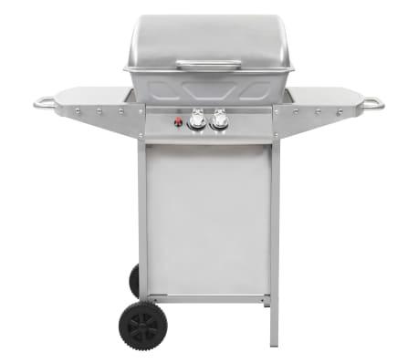 vidaXL Barbecue a Gas con Griglia 2 Fornelli Argento Acciaio Inox[3/10]
