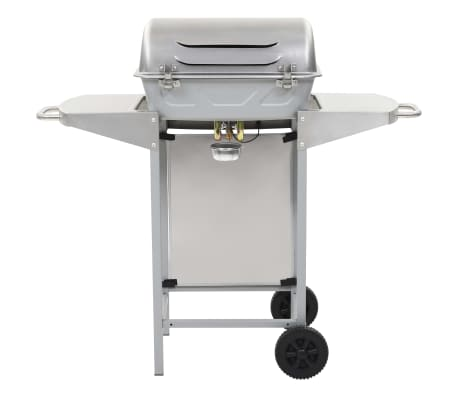 vidaXL Barbecue a Gas con Griglia 2 Fornelli Argento Acciaio Inox[4/10]