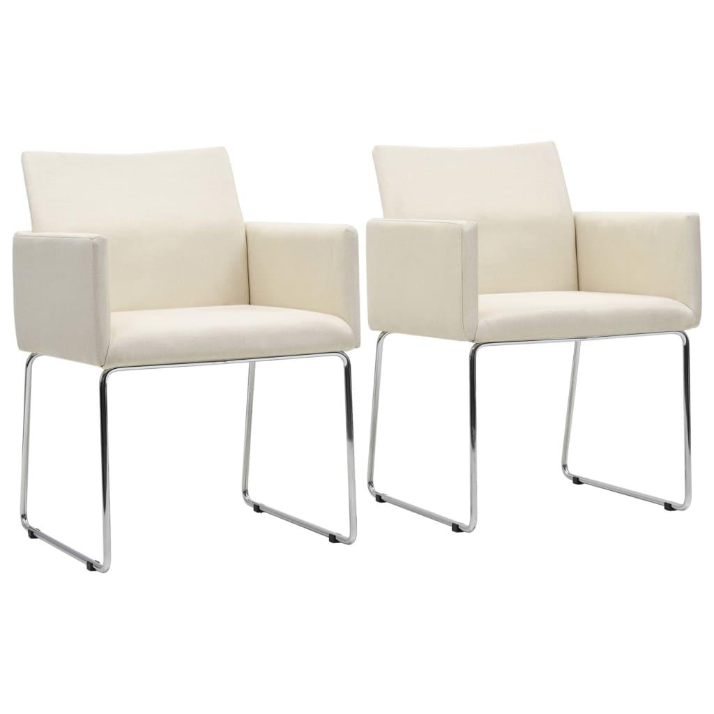 vidaXL Καρέκλες Τραπεζαρίας 2 τεμ. Λευκές Υφασμάτινες με Λινό Σχέδιο