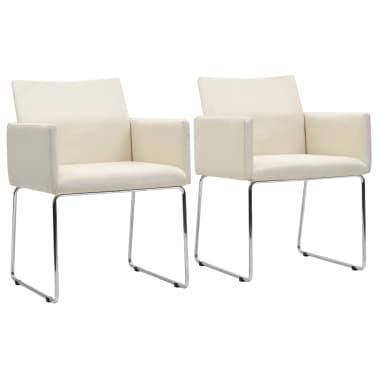 vidaXL Chaises de salle à manger 2 pcs Aspect de lin Blanc