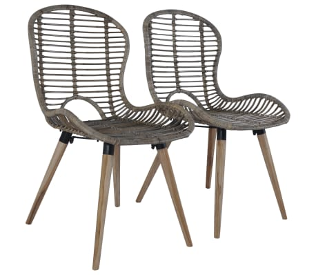 vidaXL Dining Chairs 2 pcs Brown Natural Rattan