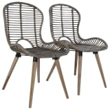 vidaXL Dining Chairs 2 pcs Brown Natural Rattan